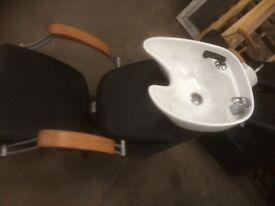 3 salon chairs with neck rest sinks