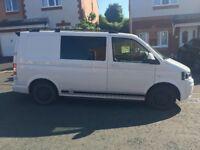 Volkswagen Transporter T5 Day Van, 2.0L Diesel, Manual, White, 5 seats, 12v & 240v power in rear.