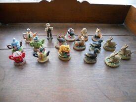 Selection of Tetley Tea miniature collectable tea pots and animals