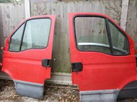 Iveco Daily front doors in red colour