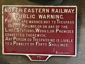 Old Cast Iron Railway Sign