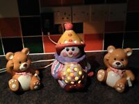 Ceramic Clown Children's Bedside Lamp plus Two Teddy Bear Bookends