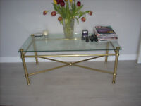 COFFEE TABLE BRASS EFFECT AND GLASS 1050X55CM FROM MARKS AND SPENCER +MATCHING LAMP TABLE 50X45CM