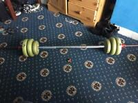Weight bar with weights as seen in pic