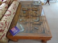 Glass Top Intricately Carved Indian Coffee / Display Table (made from original Rajasthan door)