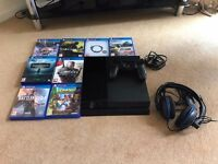 PS4 with 8 games and headset
