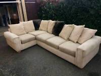 Beige and Brown Corner Sofa with matching Pouffe (lid lifts for hidden storage)