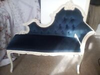 Shabby chic French style ornate chaise lounge