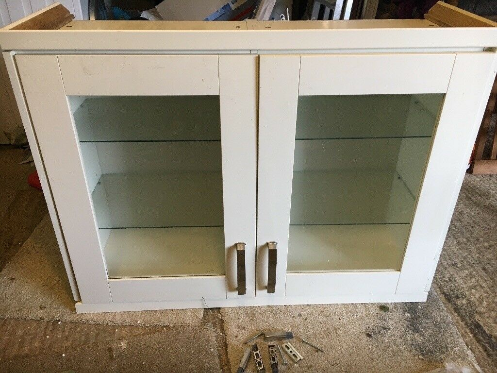 Cream Glass Fronted Homebase Kitchen Display Cabinet With Soft Close Doors