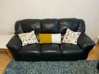 2 x Black leather sofas - good condition £90 pair!