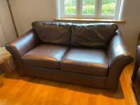 M&S Abbey sofa - 2 seater dark brown leather sofa