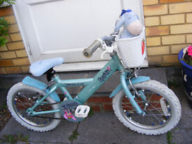 """GIRLS 16"""" WHEEL BIKE WITH FITTED BASKET IN GREAT WORKING ORDER AGE 4+"""