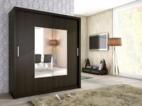 Modern High Quality 2 Sliding Door Large Wardrobe Dark Brown / Sonoma SAMAR 180 (Sonoma)