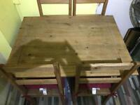 Pine Dining Table - including 4 chairs