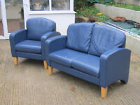 SMALL LEATHER SOFA AND CHAIR