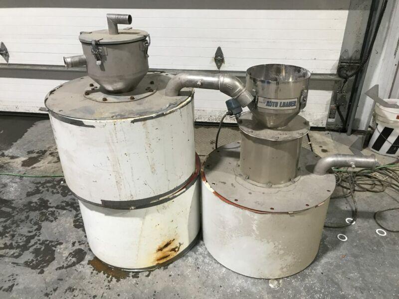 "Kawata Plastic Pellet/Resin Dryer Auto Loaders/Hoppers w/ 21.5"" ID cylinders"