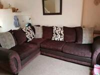 DFS Brown and cream corner sofa