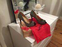 Black Sparkly peep toes Christian Louboutin heels