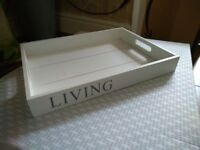 Vintage style white wooden tray