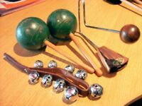 LATIN PERCUSSION, MARACAS, VIBRASLAP, SLEIGH BELLS. EXCELLENT COND. WILL SELL 1 OR ALL 3