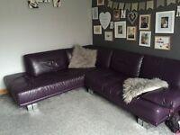 Beautiful purple leather corner sofa