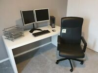 BRAND NEW - WHITE IKEA MALM COMPUTER DESK & BLACK COMPUTING CHAIR - CAN DELIVER