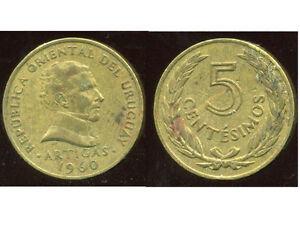 URUGUAY 5 centesimos 1960 ( bis ) - France - Région: Amérique du Sud Métal: Cuivre Pays: Uruguay Année de frappe: 1960 - France