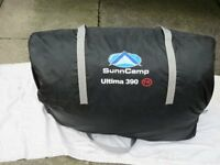 SunnCamp Ultima Aspire 390 Full Awning, complete with instructions and breathable ground sheet.