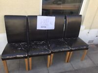 FREE BLACK LEATHER CHAIRS x4