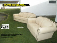 used 3 seat +2 seat sofas in cream leather vgc in n wales
