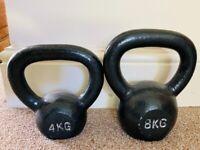 4 & 8 KG kettlebells