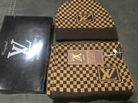LV Louis Vuitton Scarf & Beanie Set. Brown in Colour. New in Box.