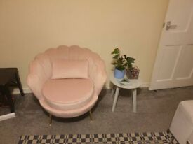 (Pink) LYM Velvet Upholstered Sofa Armchair new condition