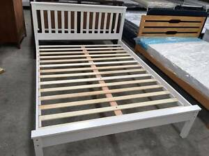 【Brand New】Monaco Rubber wood Bed Frame Double/Queen Size White Melbourne CBD Melbourne City Preview