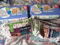 Dry Nites, girls 4-7 x 14, bed mats x 19