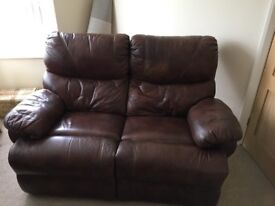 Brown Leather sofa - 2 seat electric recliner
