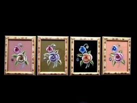 SMALL PANSY FLOWERS EMBROIDERY ARTWORK PICTURE FRAMED WALL HANGING FROM
