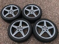 "Genuine 18"" Mercedes W205 C Class AMG Staggered Alloy Wheels Grey Polished Face Bridgestone Tyres"
