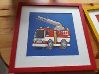 Fire engine and cement mixer picture