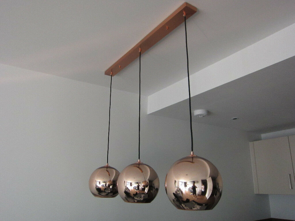 tom dixon style lighting.  Tom Tom Dixon Style Copper Pendant Lights 3 X 25cm In Single Fixture Inside Lighting T