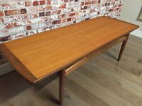 Beautiful and elegant coffee table by Gplan, glass top included, excellent condition,136.5cm L