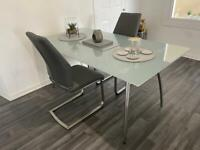 Frosted glass dining room table. EXCLUDING CHAIRS