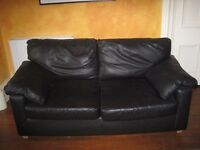 Real Leather Sofa - 3 seater - Black