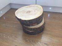Log slice centre pieces for wedding