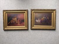 Pair of antique/vintage still life original paintings in ornate gold coloured frames