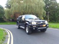 4X4 DIESEL MITSUBISHI L200 WARRIOR LWB CREW CAB WITH ROOF CANOPY , SAT NAV , NO VAT, COMMERCIAL