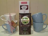 MACMILLAN COFFEE MORNING? .. NEW COFFEE DRIPPER SET & 2 CUPS, COFFEE AND FILTERS