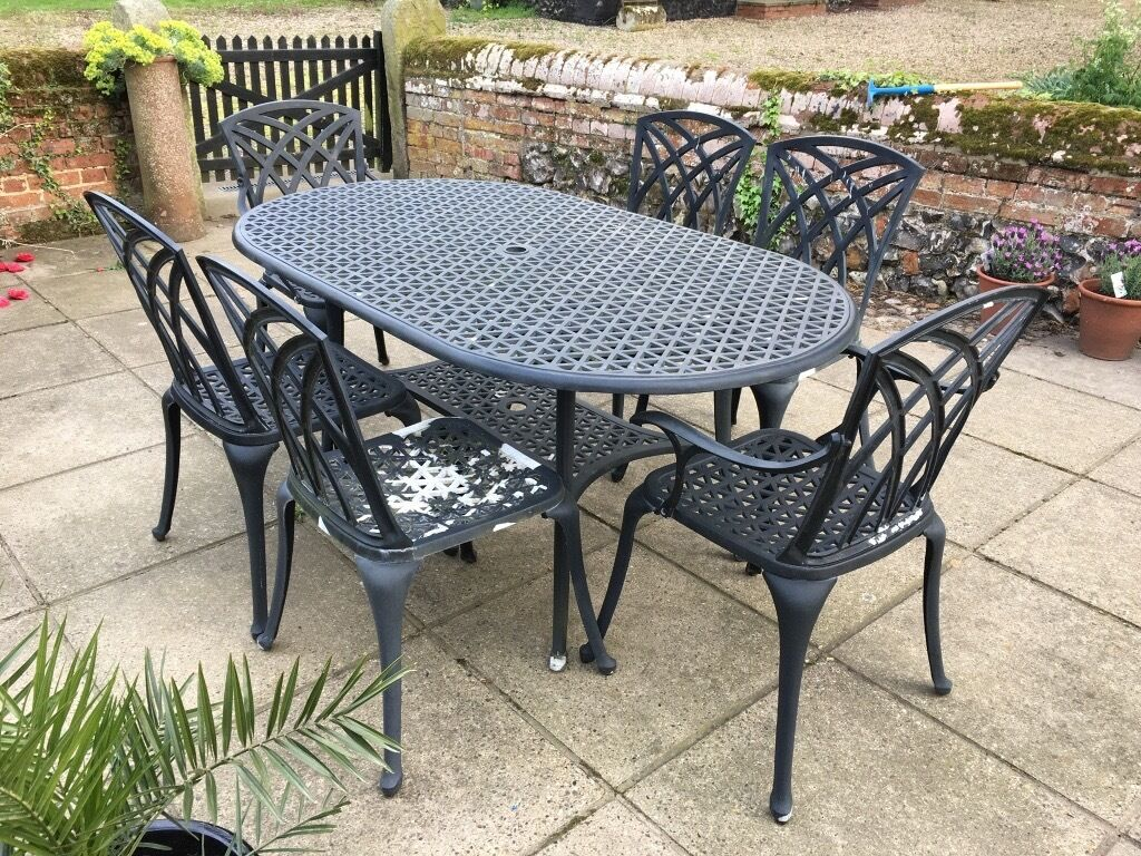 Cast metal garden furniture set in norwich norfolk gumtree - Garden furniture table and chairs ...
