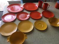 Melaware 1950's camping picnic plates