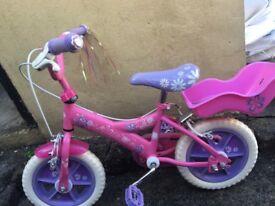 Girls pink 12 inch bike